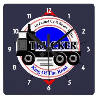 Of Road Graphicトラック運転手のノベルティ王 スクエア壁時計