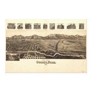 Ogdenユタ(1890年)の見通しの地図 キャンバスプリント