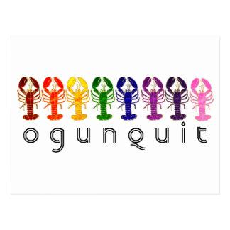 Ogunquitメインの虹のロブスター ポストカード