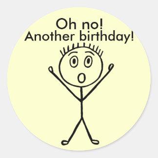 Ohいいえ! 別の誕生日、おもしろいなステッカー 丸形シール・ステッカー