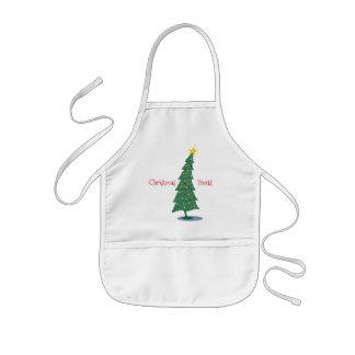 ohクリスマスは木を扱います 子供用エプロン