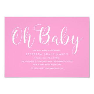 Ohベビーの白い原稿|のベビーシャワーの招待状 カード