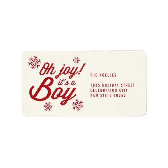 Oh喜びそれは男の子のベビーの第1クリスマスの宛名ラベルです ラベル