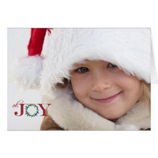 Oh喜びによって折られる写真の休日カード カード