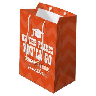 Oh場所卒業生シェブロンのオレンジの行きます ミディアムペーパーバッグ