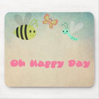 Oh幸せな日のお洒落で陽気な昆虫 マウスパッド