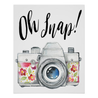 Oh急な水彩画のカメラのイラストレーション ポスター