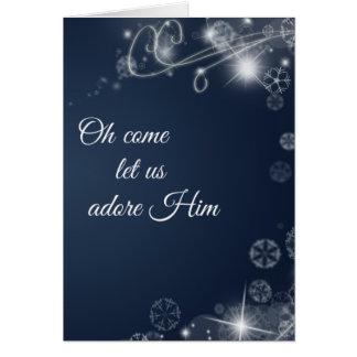 Oh来られる私達を崇拝します彼をキリスト教のクリスマス許可して下さい カード