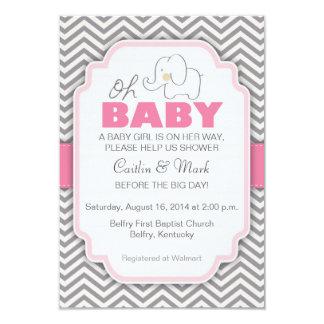 Oh赤ん坊象の-ピンク及び灰色のベビーシャワーの招待 8.9 X 12.7 インビテーションカード