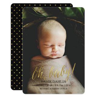 「Oh、赤ん坊!」 金ゴールド模造のなホイル の誕生の発表 カード