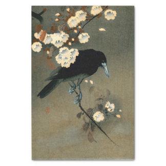 Ohara Kosonのヴィンテージによるカラスそして花 薄葉紙