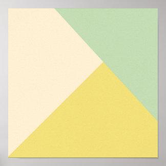 OHBABY幾何学的な薄緑の黄色いピンクがかったNEUTRA ポスター