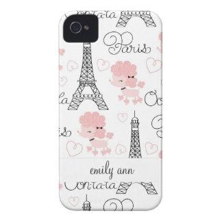Ohlalaかわいいパリのプードルおよびエッフェル塔パターン Case-Mate iPhone 4 ケース