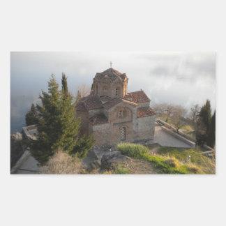 Ohridの湖OhridのSt. Jovan教会、 長方形シール
