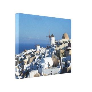 Oiaの風車のSantoriniのキャンバスのプリント キャンバスプリント