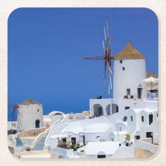 Oia、Santorini、ギリシャの風車 スクエアペーパーコースター