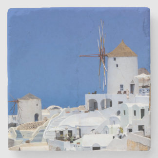 Oia、Santorini、ギリシャの風車 ストーンコースター