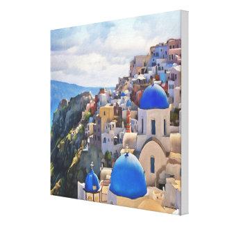 Oia、Santorini。 ギリシャ。 油絵。 キャンバスのプリント キャンバスプリント