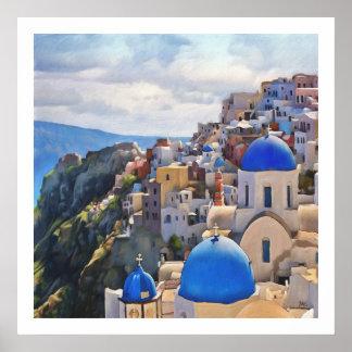 Oia、Santorini。 ギリシャ。 油絵 ポスター