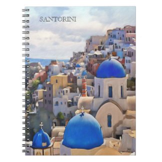 Oia、Santorini。 Greece.Oilの絵画。 ギフトのノート ノートブック