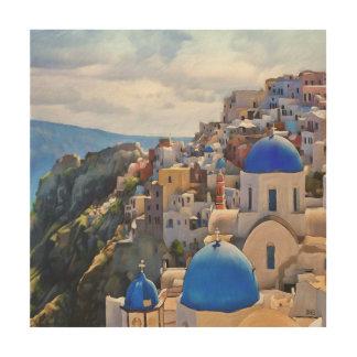 Oia、Santorini。 Greece.Oilの絵画。 木製の壁の芸術 ウッドウォールアート