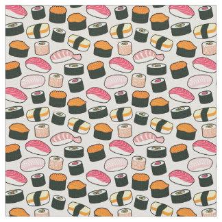 Oishiiの寿司のおもしろいのイラストレーションパターン(灰色) ファブリック