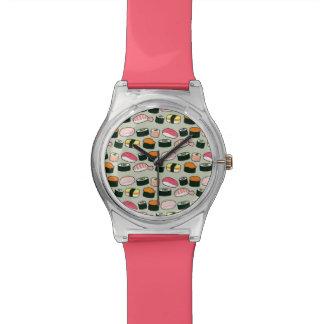 Oishiiの寿司のおもしろいのイラストレーションパターン(灰色) 腕時計