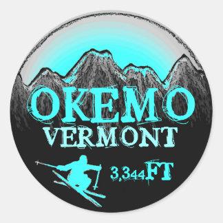 Okemoヴァーモントのティール(緑がかった色)のスキー芸術の高度のステッカー ラウンドシール