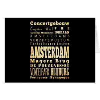 Olandaのタイポグラフィの芸術のアムステルダム都市 カード