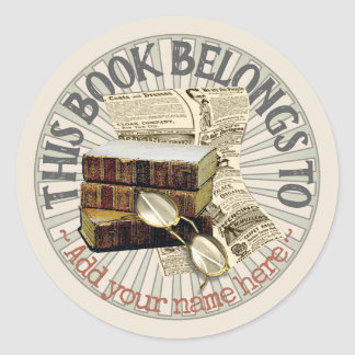 Old Books & Spectacles Bookplate Sticker ラウンドシール