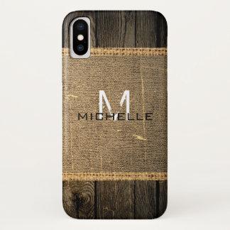 Old Wood Look Burlap Rustic Monogram iPhone X ケース