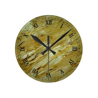 Oldeの世界の大理石のWallclockのローマ数字 ラウンド壁時計