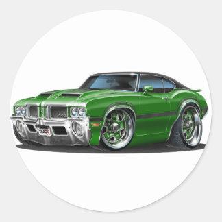 Oldsのカットラス442の緑車 ラウンドシール