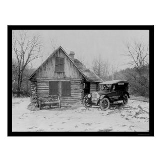 Oldsmobileの丸太小屋1920年 ポスター
