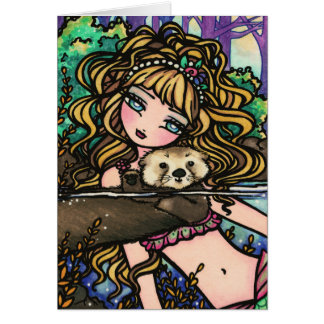 """Olianaカワウソ""のファンタジーの人魚のラッコの妖精 カード"