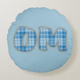 Omのヨガの枕-青い格子縞-ヨガの関連のギフト ラウンドクッション