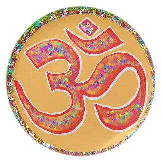 OMの信念の記号: 本当の神聖なローブ色 プレート