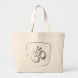 Omまたはオウムの信念の黙想 ラージトートバッグ