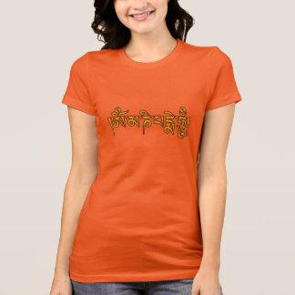 OmマニPadmeのハム雑音のチベットの原稿の仏教徒の信念 Tシャツ