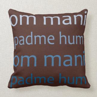 OmマニPadmeのハム雑音の青かブラウン クッション