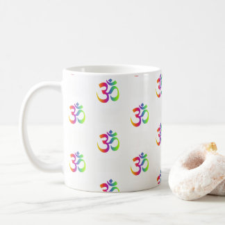 Om 90sのグラデーションなナマステの黙想の記号パターンマグ コーヒーマグカップ