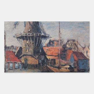 Onbekende運河の風車、アムステルダム 長方形シール