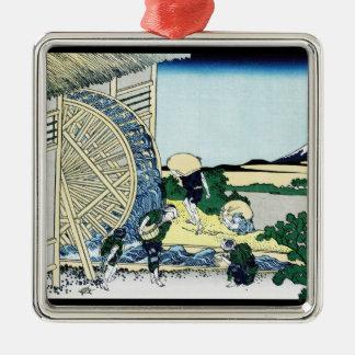 Onden Katsushika Hokusai富士の眺めのWatermill メタルオーナメント
