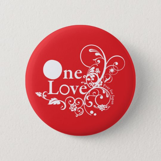 One Love - Pray for Japan (Red) 5.7cm 丸型バッジ