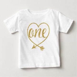 ONE|Oneの歳の|Heart|Glitterプリント ベビーTシャツ