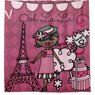 OohのLaのLaのアフリカ系アメリカ人の花型女性歌手のエッフェル塔 シャワーカーテン