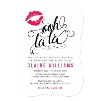 OohのLaのLaのピンクの唇のタイポグラフィのランジェリーのシャワー カード