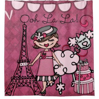 OohのLaのLaのブラウンの髪の花型女性歌手のエッフェル塔のプードル シャワーカーテン