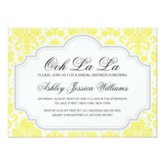 OohのLaのLaの黄色のダマスク織のブライダルシャワー招待状 カード