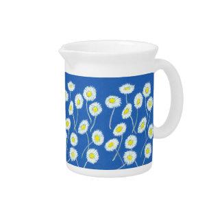 Oopsデイジーの水差しか水差し、白、青い黄色 ピッチャー